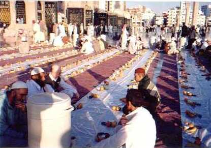 People are beginning to gather to break their Fast In Phophet's (P.B.U.H.) Mosque {In the Courtyard}